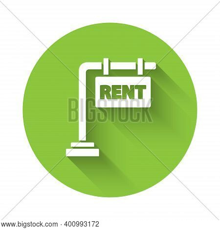 White Hanging Sign With Text Rent Icon Isolated With Long Shadow. Signboard With Text For Rent. Gree
