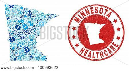 Vector Mosaic Minnesota State Map Of Syringe Icons, Hospital Symbols, And Grunge Health Care Rubber