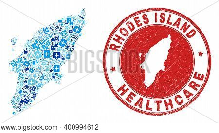 Vector Collage Rhodes Island Map With Inoculation Icons, Receipt Symbols, And Grunge Healthcare Seal