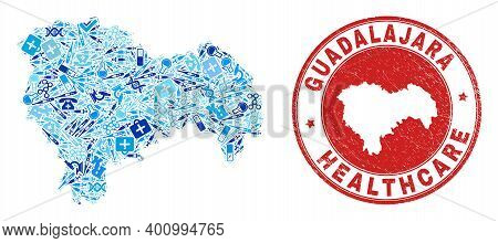 Vector Collage Guadalajara Province Map With Dose Icons, Labs Symbols, And Grunge Healthcare Stamp.