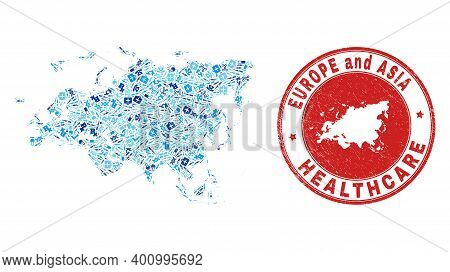Vector Mosaic Europe And Asia Map With Healthcare Icons, Laboratory Symbols, And Grunge Healthcare R
