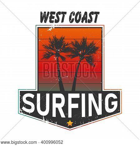 West Coast California Surf Illustration, Vectors, T-shirt Graphics Surfing Apparel T Shirt Fashion D