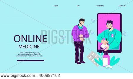 Doctor Online And Telemedicine Website Banner Template Cartoon Vector Illustration.