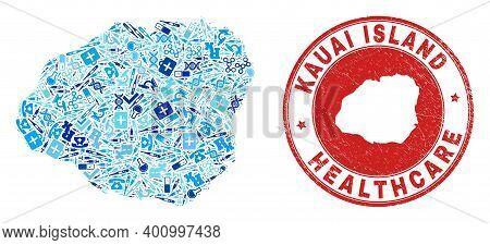 Vector Mosaic Kauai Island Map Of Dose Icons, Chemical Symbols, And Grunge Healthcare Rubber Imitati