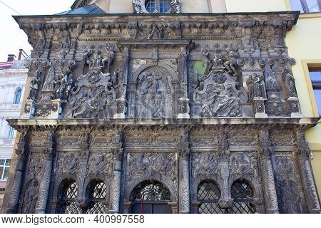Lviv, Ukraine - May 6, 2017: Fragment Of The Exterior Of Chapel Of Boim In Lviv, Ukraine. Decoration