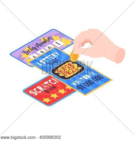 Isometric Fortune Lottery With Raffle Tickets Chips Vector Illustration