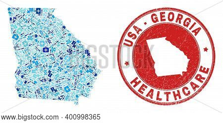 Vector Mosaic Georgia State Map With Vaccination Icons, First Aid Symbols, And Grunge Doctor Imprint