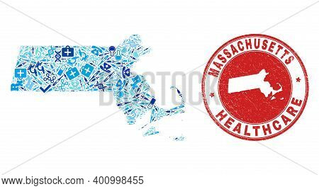Vector Mosaic Massachusetts State Map With Inoculation Icons, Medicine Symbols, And Grunge Healthcar
