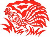 An oriental decorative paper cut of a rooster poster