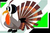 Illustration of a cartoon colour turkey fowl poster