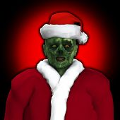 A Zombie dressed up as Santa Claus. poster