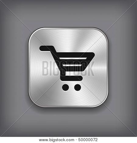Shop Cart Icon - Vector Metal App Button