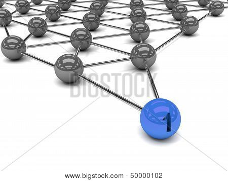 Metaphor of communication. Blue leader in front.