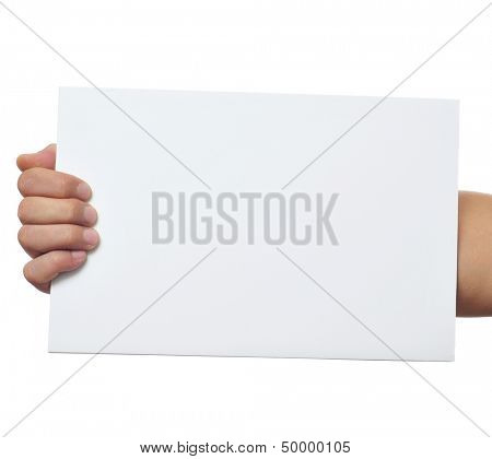 a man holding a blank signboard with a copy-space with is hand