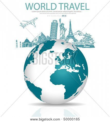 Sketch of famous monument and Modern globe. Vector illustration.