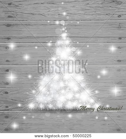 Christmas tree on wood background. Vector illustration.