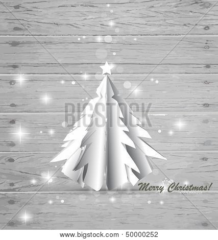 Paper Christmas tree on wood background. Vector illustration.