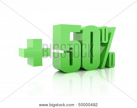 Plus 50 percent. Over white background. Concept 3D illustration.