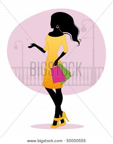 Woman's Silhouette With Bags