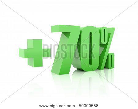 Plus 70 percent. Over white background. Concept 3D illustration.