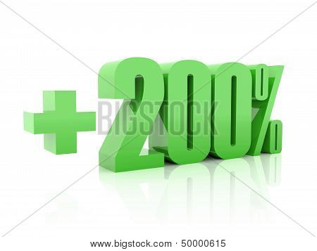 Plus 200 percent. Over white background. Concept 3D illustration.