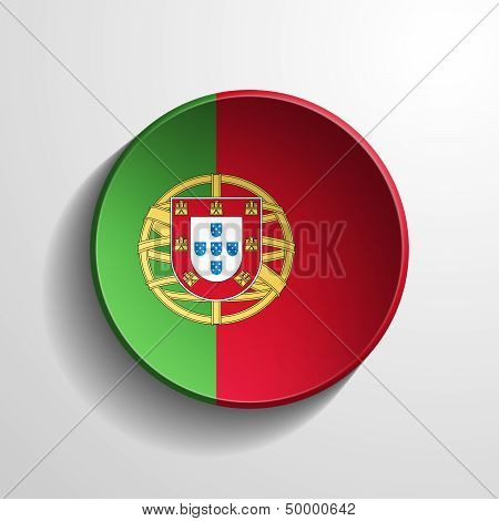 Portugal 3D Round Button
