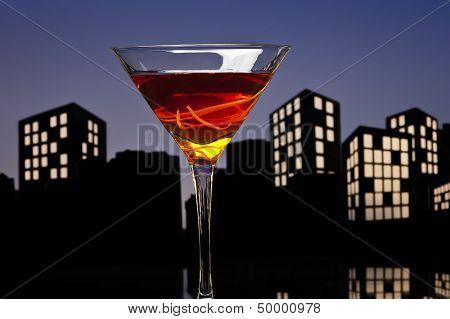 Metropolis Manhattan Cocktail In City Skyline Setting