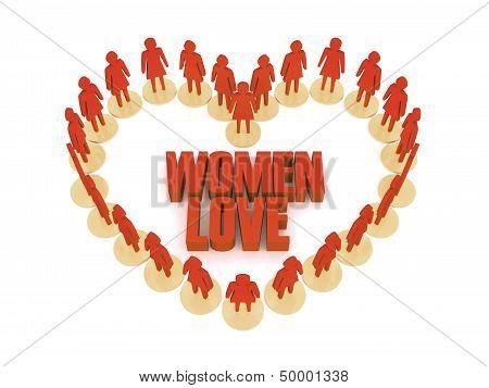 Women love. Over white background. Concept 3D illustration