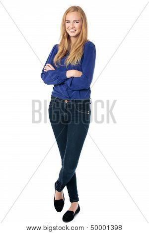 Happy Confident Relaxed Young Woman