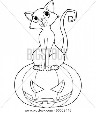 Cat sitting on Halloween pumpkin coloring page