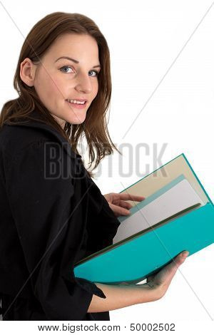 Young Female Student With A Folder/binder
