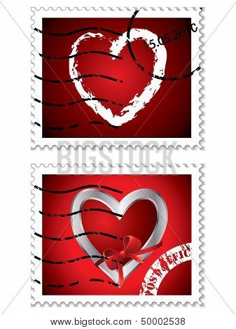Red Stamps With Love Symbol