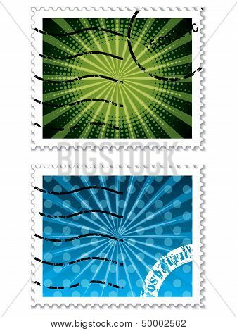Abstract Design On Blue And Green Stamps