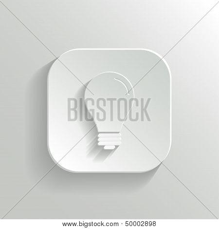 Light Bulb Icon - Vector White App Button