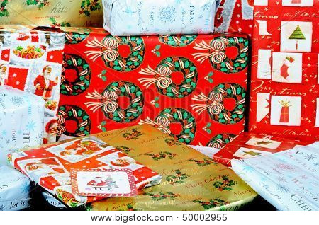 Gift wrapped Christmas presents.