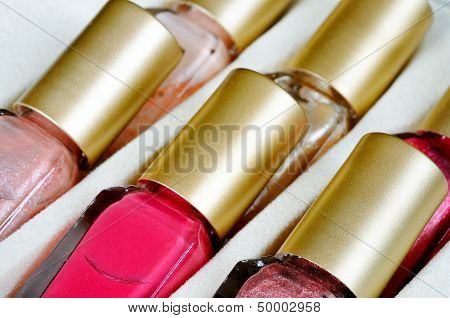 Bottles of nail varnish.