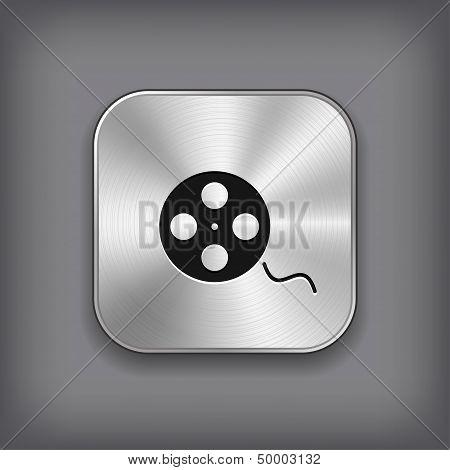 Film Roll Icon - Vector Metal App Button