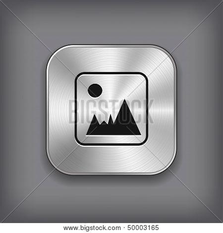 Photography Icon - Vector Metal App Button