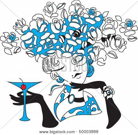 Woman silhouette with martini