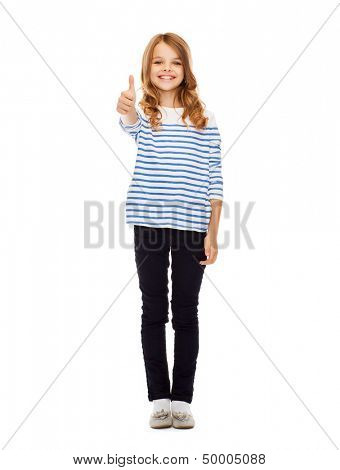 education, school and gesture concept - cute little girl showing thumbs up
