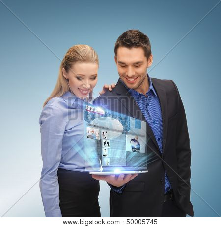 business, technology, internet and news concept - business team with tablet pc and virtual screen reading news