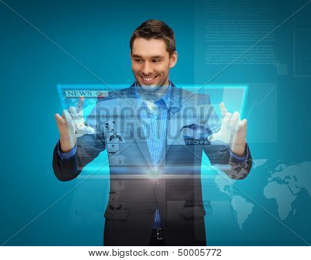 business, technology, internet and news concept - businessman with virtual screen reading news