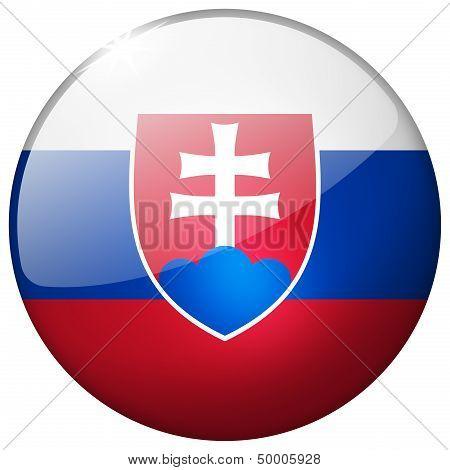 Slovakia Round Glass Button