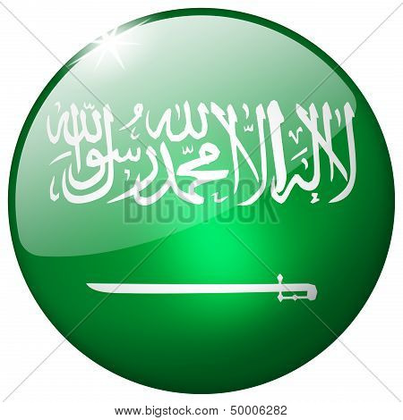 Saudi Arabia Round Glass Button