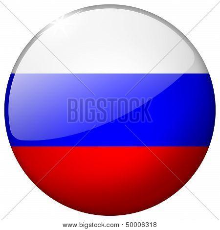 Russia Round Glass Button
