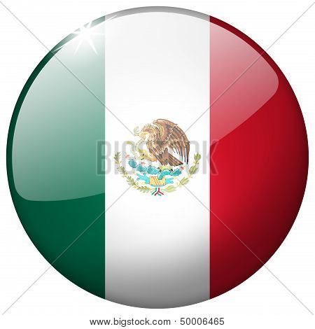 Mexico Round Glass Button