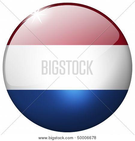 Netherlands Round Glass Button