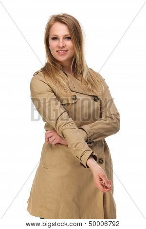 Attractive Young Woman In Brown Coat