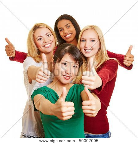 Happy group of young women holding their thumbs up