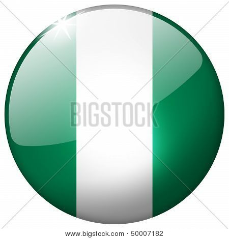 Nigeria Round Glass Button